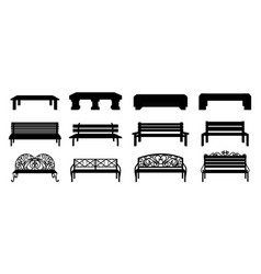 Bench silhouette black wooden and wicker street vector