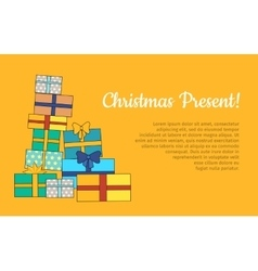 Big Pile of Colorful Wrapped Gift Boxes Web Banner vector