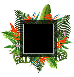 black frame with flowers and leaves in background vector image