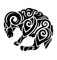 Black tribal art with stylized ram silhouette vector