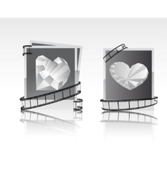 black-white snapshots with diamonds vector image