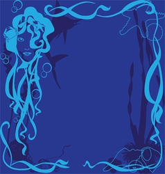 Blue background marine life vector
