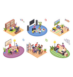board games family isometric set stay home vector image