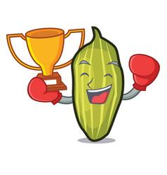 Boxing winner cardamom mascot cartoon style vector