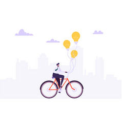 businessman character riding on the bike to work vector image