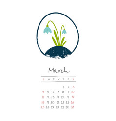 Calendar 2018 months march week starts sunday vector
