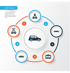 Car icons set collection of transport cleaning vector