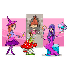 cartoon fantasy woman characters group vector image