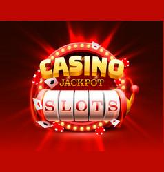 casino slots jackpot 777 signboard frame light vector image