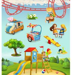 children playground outdoor games in park vector image