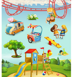Children playground outdoor games in the park vector