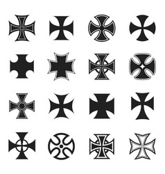 chopper cross icon set black and white vector image