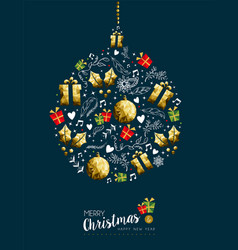 christmas and new year gold bauble greeting card vector image