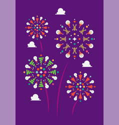 christmas firework decoration elements vector image