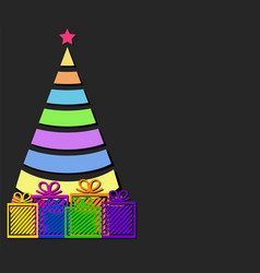 color design christmas tree with strips and gift vector image