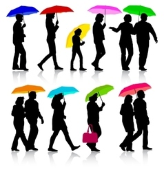 Color silhouettes man and woman under umbrella vector