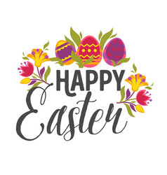colored eggs and plant leaves happy easter wish vector image