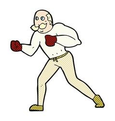 Comic cartoon retro boxer man vector