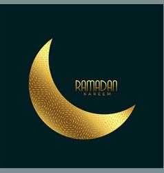 Creative golden crescent moon for ramadan kareem vector