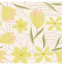 Crocuses seamless pattern yellow vintage vector image