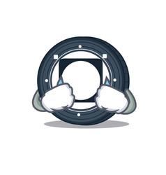 Crying byteball bytes coin mascot cartoon vector