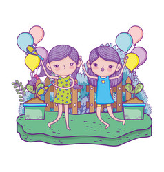 Cute little girls playing maracas in the landscape vector