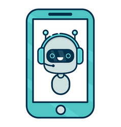 cute smiling robot chat bot say in smartphone vector image