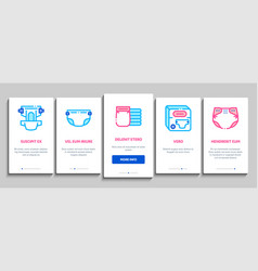 Diaper for newborn onboarding elements icons set vector