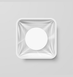 Empty white plastic food square container with vector