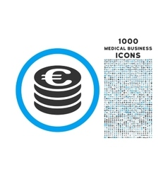 Euro Coin Column Rounded Icon with 1000 Bonus vector image