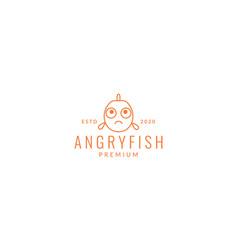 Fish line cartoon sad logo icon design vector