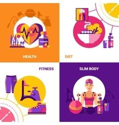 Fitness 2x2 Design Concept Set vector image