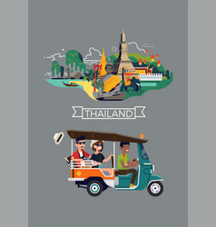 flat on thailand travel destination with happy vector image