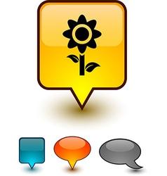 Flower speech comic icons vector