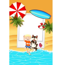 Frame design with boy and dog on beach vector image