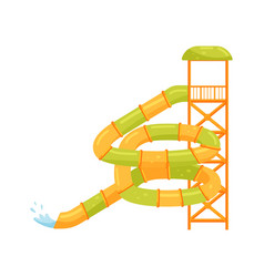 Giant spiral tube water slide extreme attraction vector