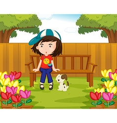 Girl and dog in the garden vector