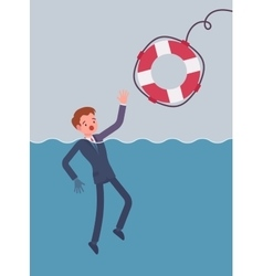 Giving a lifebuoy for drowning businessman vector