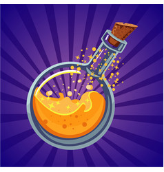 glass bottle with magic elixir computer game vector image