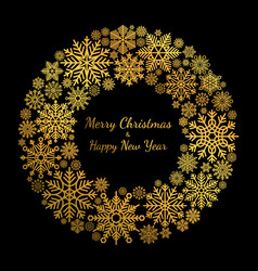 Gold snowflake christmas wreath isolated on black vector