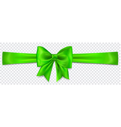 Green bow with horizontal ribbon vector