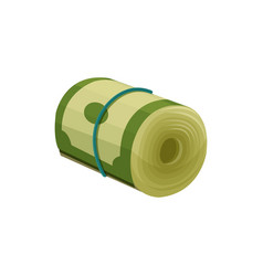 Green dollar banknotes rolled up and tied with vector