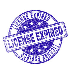 grunge textured license expired stamp seal vector image
