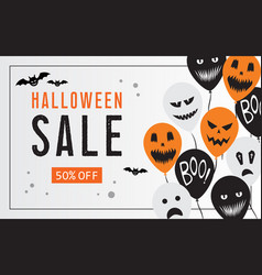 halloween sale web banner with balloons vector image