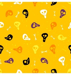 Halloween seamless pattern with skulls and bones vector
