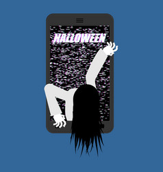 Halloween witch zombie from smartphone zombie vector