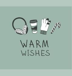 hand drawn christmas set for warm on green vector image