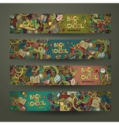 Hand drawn doodles school design banners vector