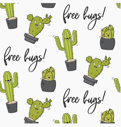 happy cactus print cool kids design with vector image