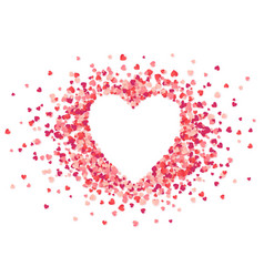 heart shape pink confetti splash with white vector image